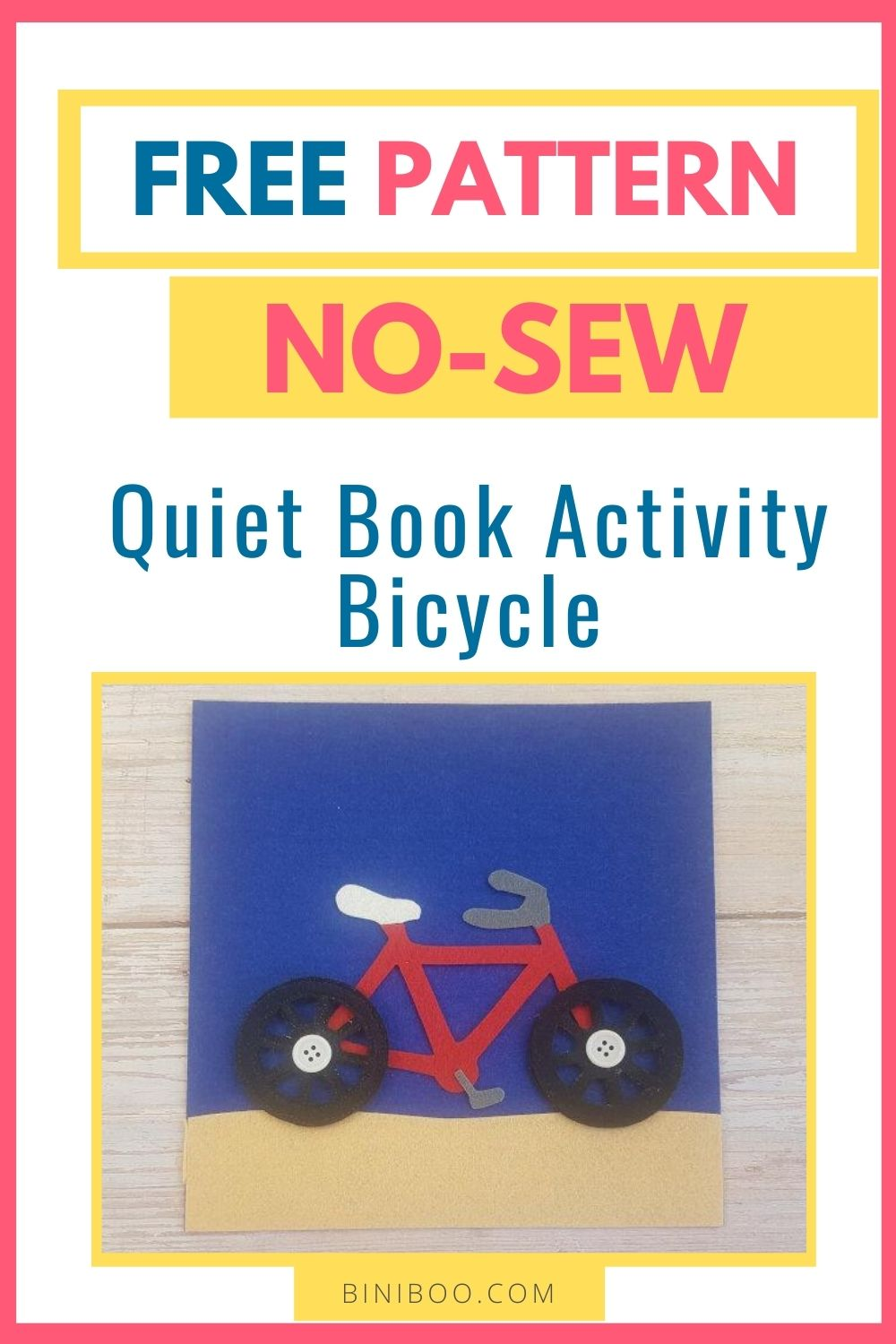 quiet book page bicycle