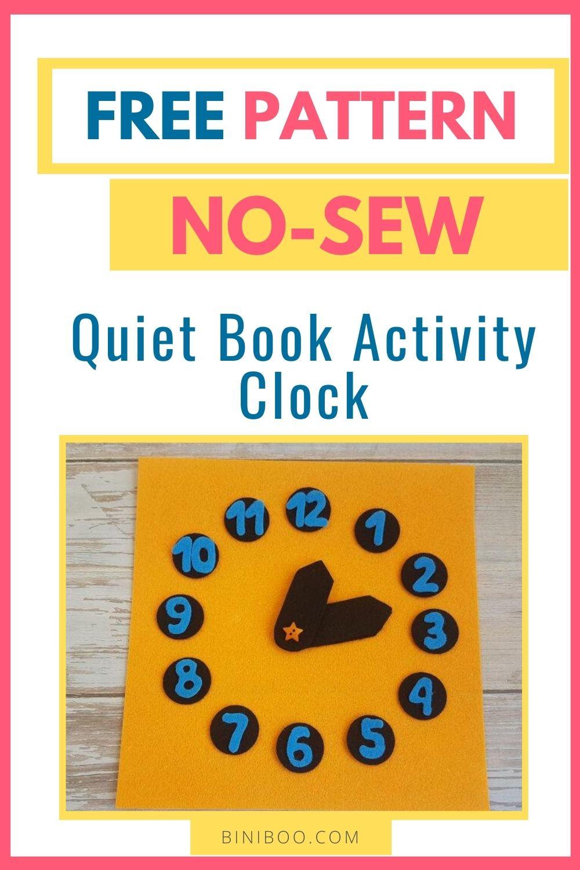 quiet book page clock