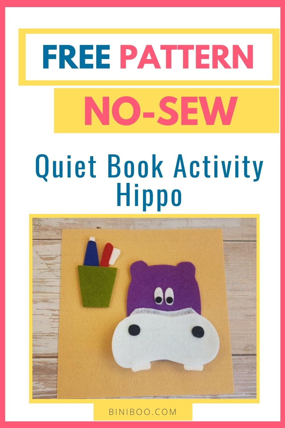 quiet book page hippo