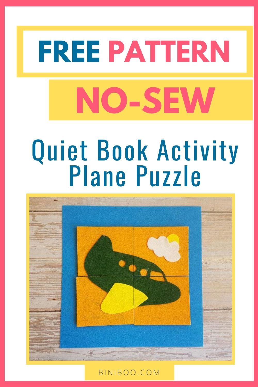 quiet book activity plane puzzle