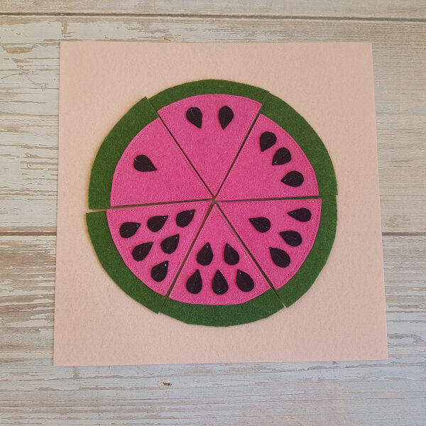 quiet book watermelon no-sew page