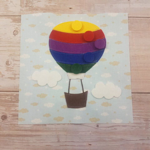 sewn quiet oook hot air balloon page