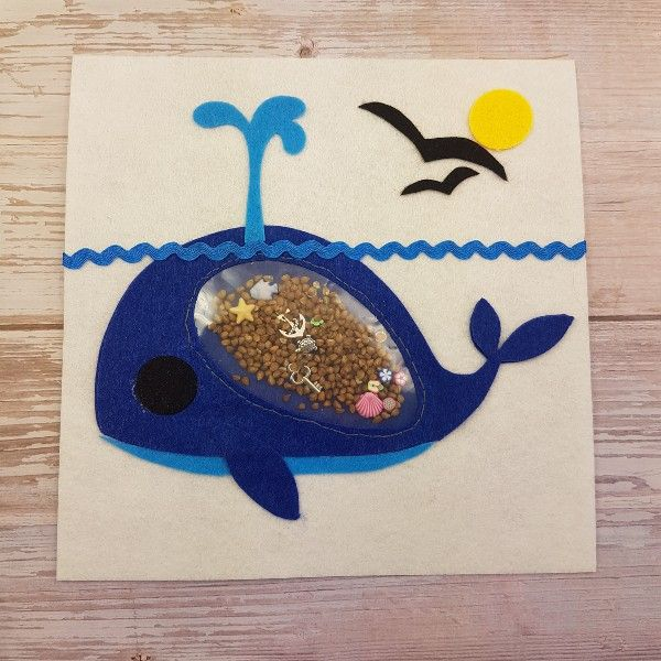 finished no sew DIY quiet book whale I spy page